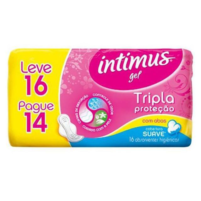 ABSORVENTE INTIMUS GEL TRIPLA PROTEÇÃO SUAVE COM ABAS L16P14