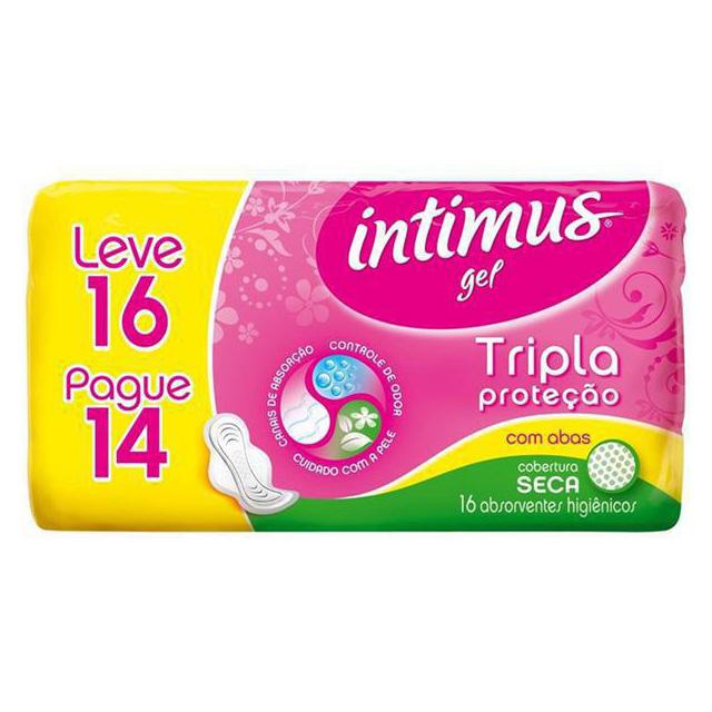 ABSORVENTE INTIMUS GEL TRIPLA PROTEÇÃO SECA COM ABAS L16P14